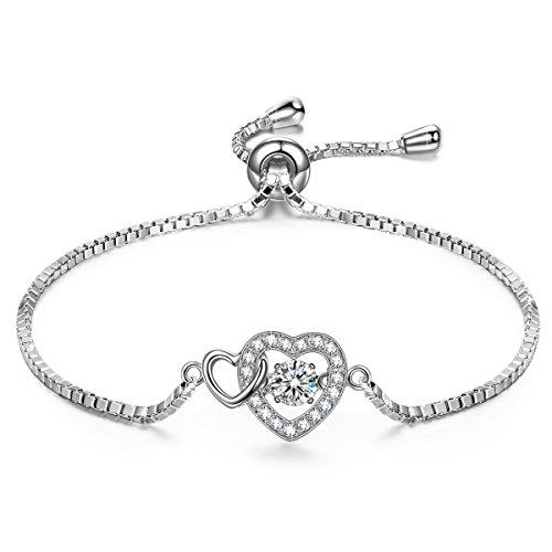 Heart Chain Dangle - DANCING HEART Dangle Heart Bracelet for Women Bracelet Silver Bracelet Heart Bracelet Swarovski Bracelet Dancing Diamond Bracelet Jewelry Gift for Women Bracelet Graduation Gifts