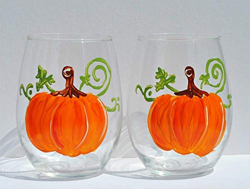 Hand Painted Halloween Pumpkins (2 Pumpkin Hand Painted Stemless Wine Glasses)