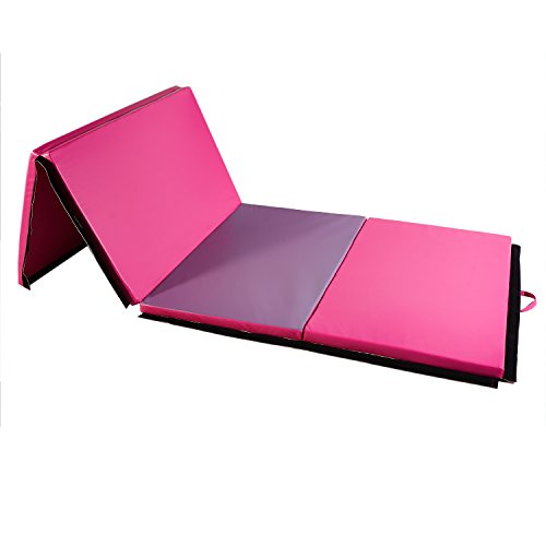 DOIT 4'x10'x2 4 Fold Thick Gymnastic Mat Surface PU Cortex with Handles and Zipper Home Fitness Equipment (rose red and purple) by DOIT