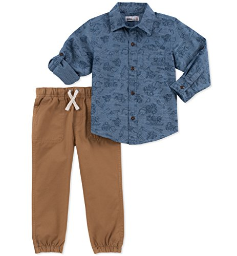 Kids Headquarters Baby Boys 2 Pieces Shirt Pants Set-Rolled up Sleeves, Light Blue/Khaki, 12M