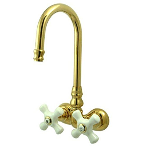 Elements of Design DT0712PX Hot Springs Wall Mount Clawfoot Tub Filler, Polished Brass