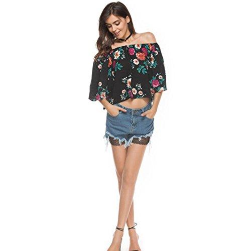 FNKDOR Mujeres de la manera de las camisetas ocasionales impresas florales de la blusa del hombro Negro