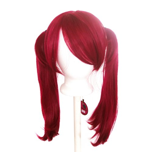 Amazon.com : Nanako - Burgundy Red Wig 18 Pigtails with Part and Long Bangs : Beauty