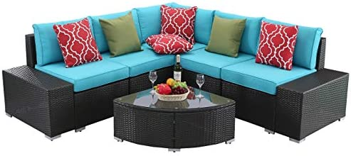 Do4U 6 PCs Outdoor Patio PE Rattan Wicker Sofa Sectional Furniture Set Conversation Set- Seat Cushions Glass Coffee Table Patio, Backyard, Pool Steel Frame Turquoise