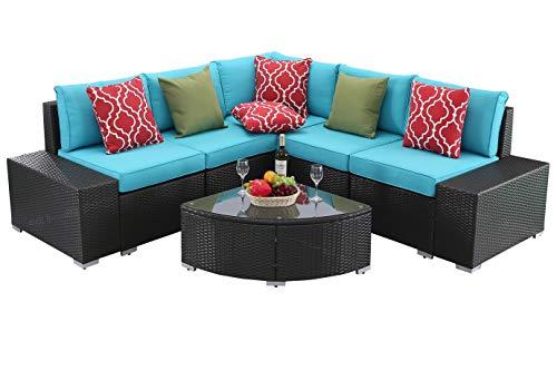 Do4U 6 PCs Outdoor Patio PE Rattan Wicker Sofa Sectional Furniture Set Conversation Set- Turquoise Seat Cushions & Glass Coffee Table| Patio, Backyard, Pool| Steel Frame (7690-EXP-TRQ)