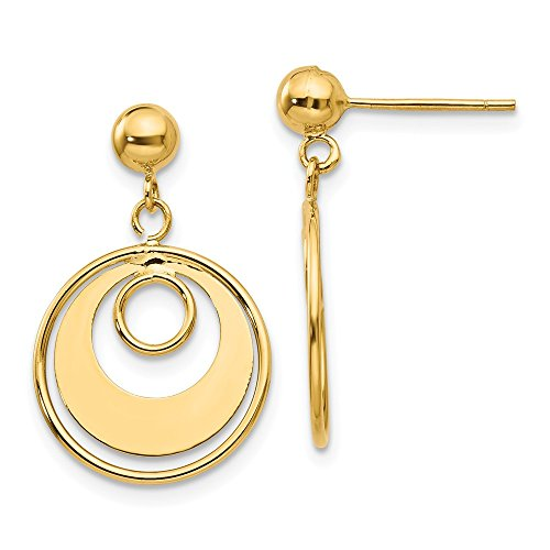 (14k Yellow Gold Circle Post Stud Earrings Drop Dangle Fine Jewelry Gifts For Women For)