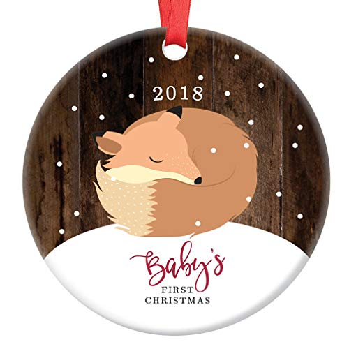 Baby's First Christmas Ornament 2018 Cute Newborn Girl Boy Fox 1st Holiday Porcelain Keepsake Present for Mom & Dad Infant Son Daughter 3
