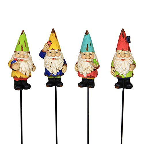 Exhart Colorful Mini Gnome Pot Stake Set of Four, 2 by 9 Inches ()