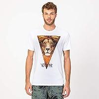 Camisa Casual T-shirt Leão Branca