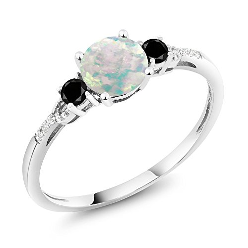 Gem Stone King 10K White Gold Diamond Accent 3-stone Engagement Ring set with Cabochon White Simulated Opal Black Diamond 0.48 cttw (Size 9)