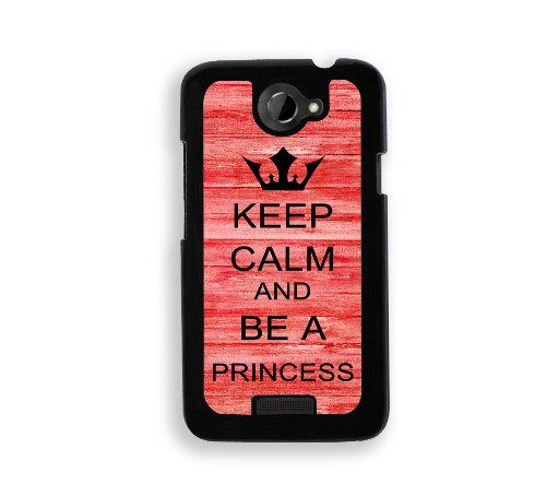 Keep Calm And Be A Princess - Red Wood - Protective Designer BLACK Case - Fits HTC One X / One X+