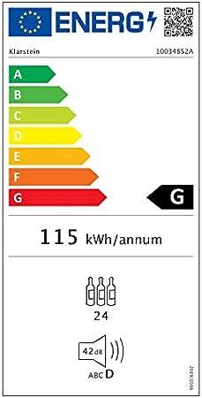 KLARSTEIN Vinsider - Nevera para vinos, EEC A, 24 Botellas, 1 Zona, Panel de Control táctil, Tempratura Ajustable, 5-20 °C, Puerta de Doble Vidrio, 3 estantes de Madera, Iluminación Interior, Negro[Clase de eficiencia energética G]