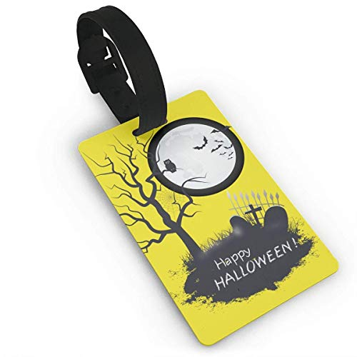 Luggage Tags Holders for Travel Luggage,Luggage Tags for Suitcases, Luggage Tags with Genuine Hand Strap Happy Halloween Night Owl Travel Suitcase Bag Tag Identify Label -
