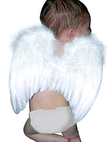 FashionWings (TM White Costume Feather Angel Wings & Halo for 6-18 Mo Babies & Bonus Poster Frame -