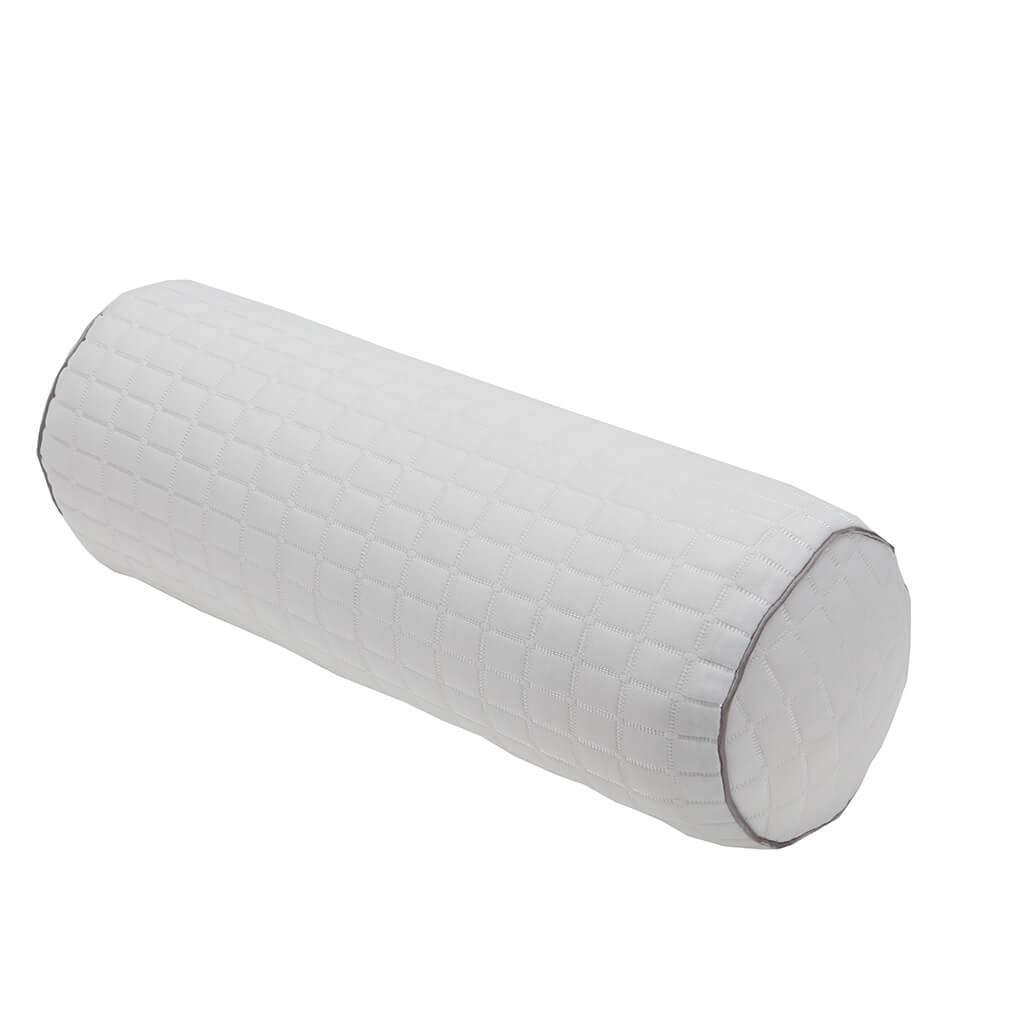 "Kingnex Firm Shredded Latex Pillow for Knee/Leg - Full Moon Bolster Cylinder Pillow for Sleeping on Side or Back - 18x6"" - Removable Cooling Cover"
