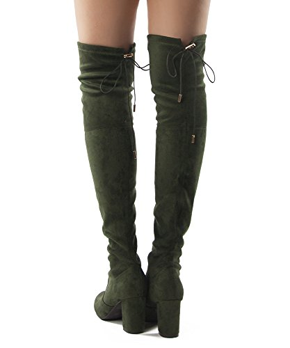 Suede OF RF Heel Over FASHION ROOM Women's Olive Calf Block and in Wide Stretch Chunky Calf Knee – Boots Medium The Medium Available rfqxrw