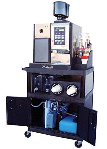 Astra Super Mega II Espresso Machine with Two Internal Bean Grinders, a Milk Refrigerator, a 16 Button Programable Drink Panel, with a Portable Cart Installed Water Softening System.