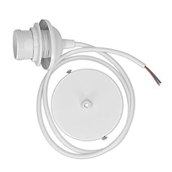 kwmobile Portalámparas E27 de 90 CM con soporte de techo - Lámpara para techo con cable blanco - Lámpara colgante con fijación para el techo