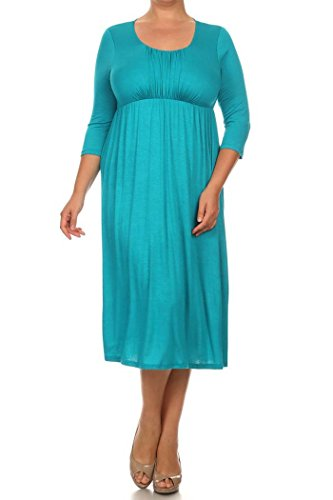 Women's PLUS Solid 3/4 Sleeve Cinched Waist Relaxed Fit A-Line Midi Dress. MADE IN USA (2X, ()
