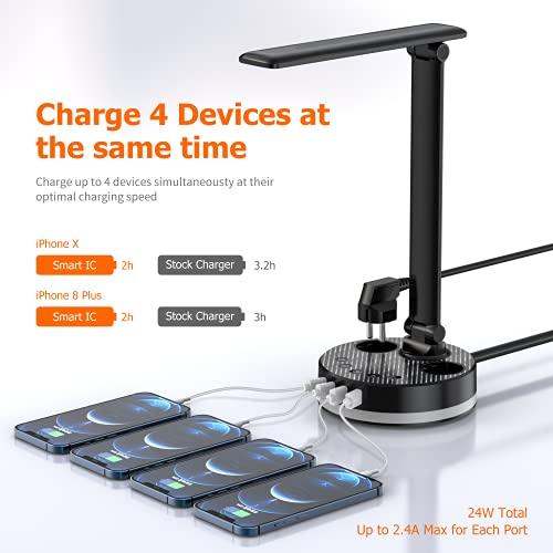 Schreibtischlampe, LED Tischlampe Dimmbar mit 4 USB-Anschluss & 2 Steckdosen, Tageslichtlampe 4 Helligkeitsstufen, Nachttischlampe klappbarer und Touch-Bedienung, Tischleuchte für Schlafzimmer, Büro