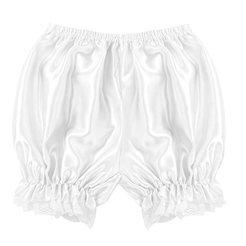 Lace Satin Bloomers - ACSUSS Women's Girls Silky Satin Lace Hem Lolita Pumpkin Pants Bloomers Lounge Shorts White One_Size