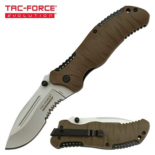 (Tac-Force Evolution - Tactical Folding Pocket Knife - Beadblast Finish Drop Point/Serrated Blade with Tan Rubber and Nylon Fiber Handle and Pocket Clip)