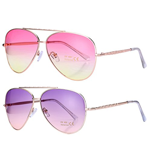 Pro Acme Aviator Style Sunglasses with Metal Frame Gradient Colored Lens UV400 Protection (2 Pairs) Gold Frame/Pink Yellow Lens + Gold Frame/Purple Pink - Sunglasses Authentic Cheap