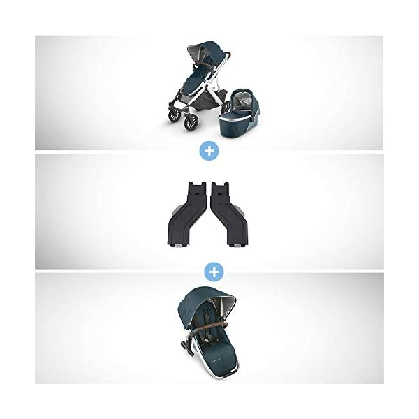 UPPAbaby Vista V2 Stroller – Finn (Deep Sea/Silver/Chestnut Leather) + Upper Adapters + RumbleSeat V2- Finn (Deep Sea…