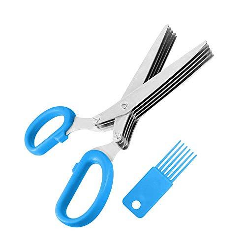 YuamMei Tijeras de hierba de acero inoxidable, cizalla multiusos de cocina con 5 cuchillas y cepillo de limpieza para el…