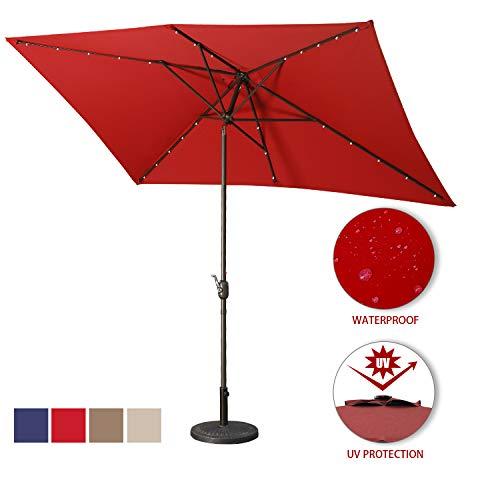 Aok Garden Solar LED Outdoor Umbrella,10x6.5 Feet Square Patio Umbrella with Push Button Tilt and Crank Lift Ventilation,8 Sturdy Ribs Non-Fading Sunshade,Wine Red