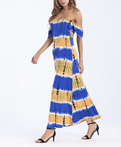 Kurzarm Hals Off Boot Maxikleid Boho Vintage Kleid Druck Kleider Shoulder Elegant Blau Dresses Damen Hippie Modisch Sommerkleider Lang Sommer Lange Ethno Bekleidung Style Farbverlauf Strandkleider
