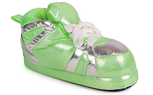 Comfy Feet Womens Snooki House Slippers (Neon Green & Silver, Small)