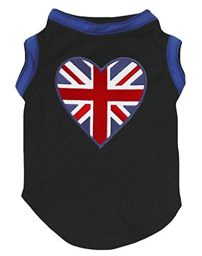 Petitebella Puppy Dog Clothes - Playera de fútbol con diseño de corazón de Gran Bretaña, Color Negro, Negro, XX-Large
