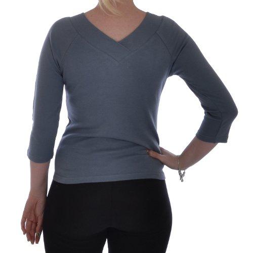 Miss Posh Casuals Womens 3/4 Sleeve V Neck Shirt Top Stone - M
