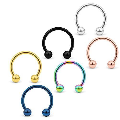 (Yaalozei 6PCS 16G 8mm Stainless Steel Horseshoe Nose Hoop Rings Eyebrow Cartilage Helix Hook Earring Septum Ring Piercing Jewelry for Men Women Mix Color 2#)