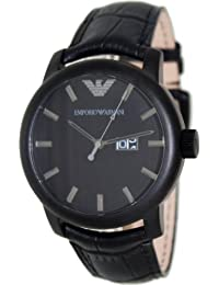 Emporio Armani Men's Classic AR0496 Black Leather Quartz Watch
