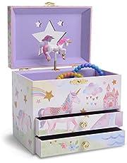 Jewelkeeper - Boîte à Bijoux Musicale avec 2 Tiroirs de Rangement, Licorne, Arc-en-Ciel et Etoiles Pailletées - Mélodie The Unicorn