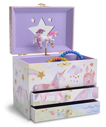 JewelKeeper Musical Jewelry Box with 2 Pullout Drawers, Glitter Rainbow and Stars Unicorn Design, Somewhere Over The Rainbow Tune by JewelKeeper