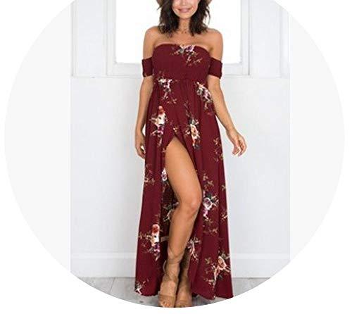 New Women Funnyy Side Split Summer Dress Off Shoulder Vintage Print Maxi Dress Women Beach Dress Vestidos