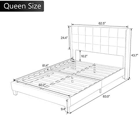 Einfach Queen Upholstered Wingback Platform Bed Frame with Headboard/Mattress Foundation with Wood Slat Support and Square Stitched Headboard/No Box Spring Needed/Easy Assembly, Dark Grey