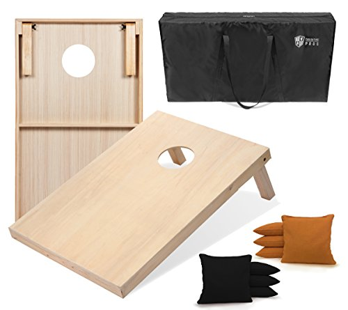 Tailgating Pros 4'x2' Cornhole Boards w/Carrying Case & Set of 8 Cornhole Bags (You Pick Color) 25 Bag Colors! (Black/Gold, 3'x2' Boards)