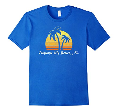 Mens Retro Panama City Beach T-shirt Florida Beach Shirt Small Royal - Beach City Shops Panama
