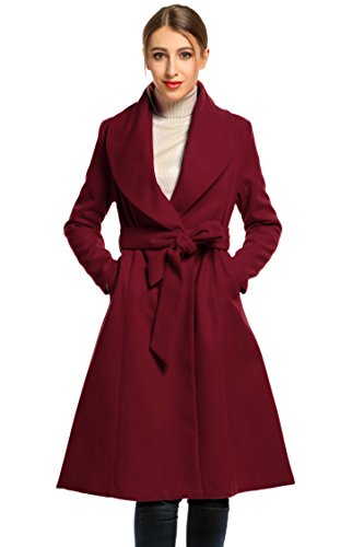 Hotouch Women's Winter Thicken Long Wool Trench Coat Jacket With Belt Wine Red XL by Hotouch