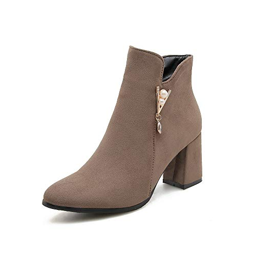 Brown Brown Brown Basso Alti Tacco Donna Tacco Stivaletti e Largo Largo Largo da Women's Boots con POEvwnUq