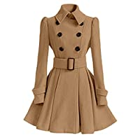 Women Trench Duffle Coats Winter Warm Woolen Lapel Parka Jacket with Belt Sunmoot