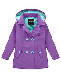 Wantdo Girl's and Boy's Fleece Rain Jacket Waterproof Windbreaker with Removable Hood