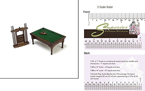 Dollhouse Miniature Walnut Pool Table Set (Game Table Set Walnut)
