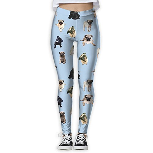 Womens Yoga Pants Athletic Stretchy Tights Elasticity Leggings Workout Pants Pug Dog Cute Love Pattern Review
