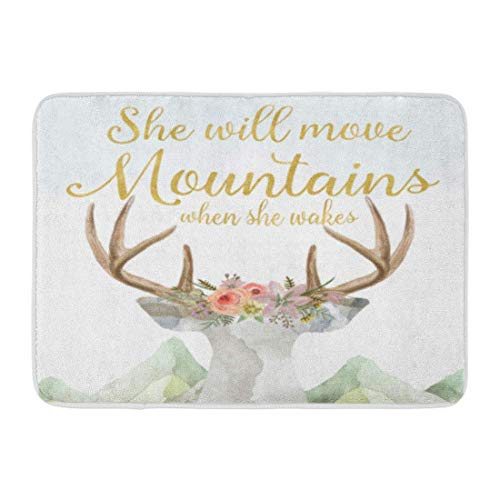AMarlly Custom Bath Mat Boho Deer Move Mountains Baby Girl Nursery Home Bathroom Decor Rug 157quotx 236quot inches Entrance Mat Floor Rug Indoor/Outdoor/Front Door/Bathroom Mats Rubber Non Slip