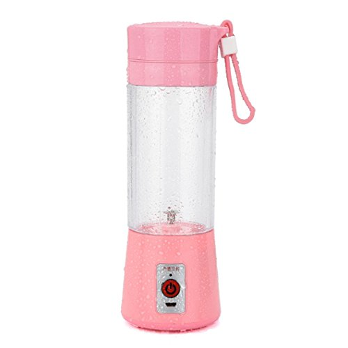 Fruit Mixing Machine,USB Juicer Cup , SUPPION Portable Personal Size Eletronic Rechargeable Mixer, Water Bottle 400ml with USB Charger Cable Portable Juice Blender and Mixer (Pink)